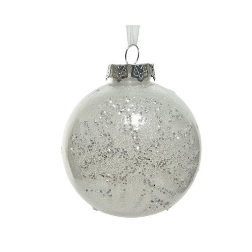 Bola de navidad con copo de nieve 8 cm plástico
