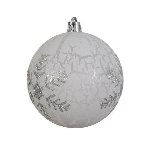 Bola de navidad con copo de nieve 8 cm brillo