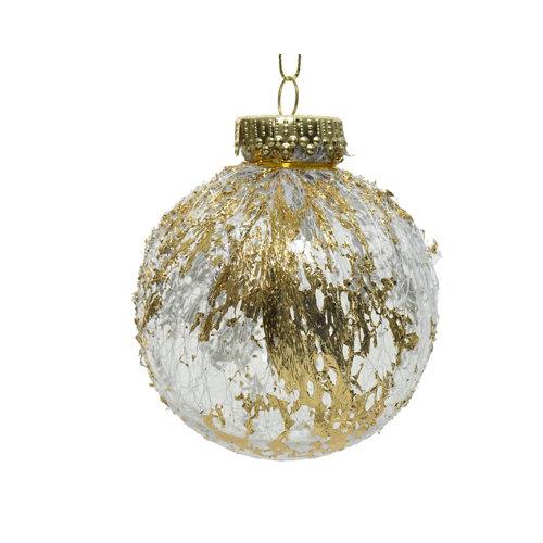 Bola de navidad transparente encaje dorado 8 cm plástico