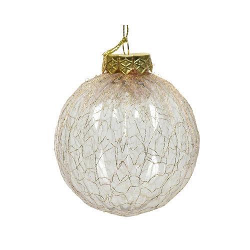 Bola de navidad transparente con encaje 8 cm plástico
