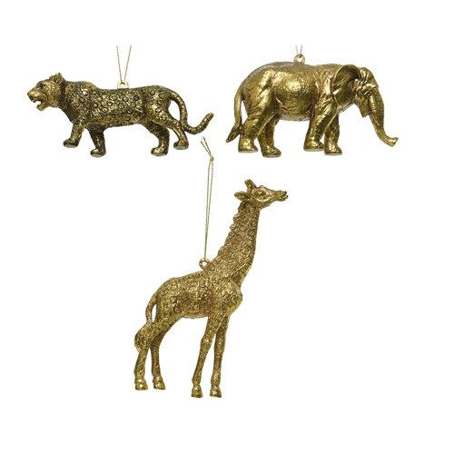 Adorno colgante animales 5-7-15,5 cm oro