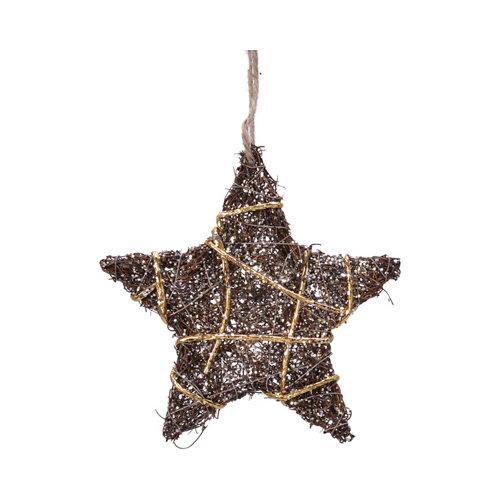 Adorno colgante estrella marrón con brillo 15 cm