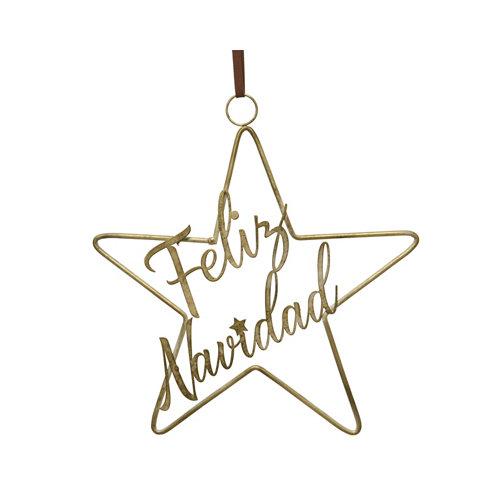 Adorno colgante estrella feliz navidad 33x30 cm
