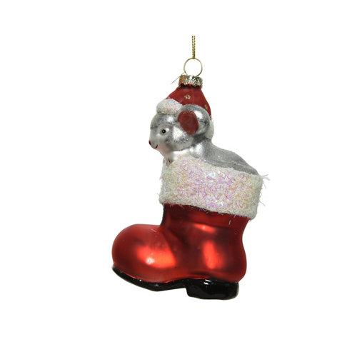 Adorno colgante bota con ratón cristal 12,5 cm