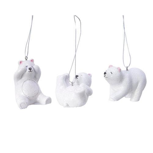 Adorno colgante oso polar 4 cm blanco