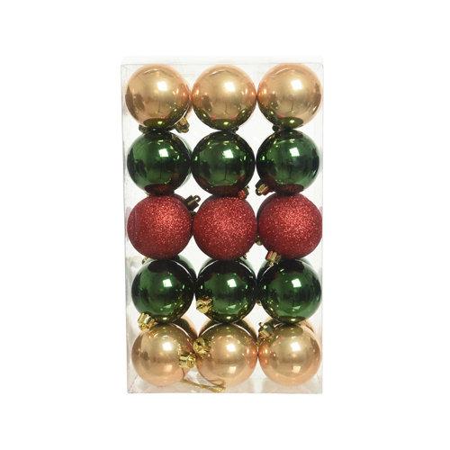 Set de 30 bolas de navidad plástico 2 colores 6 cm