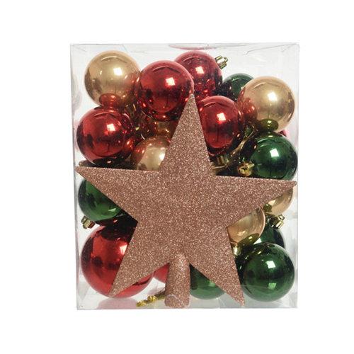 Set de 33 bolas de navidad colores surtido + estrella