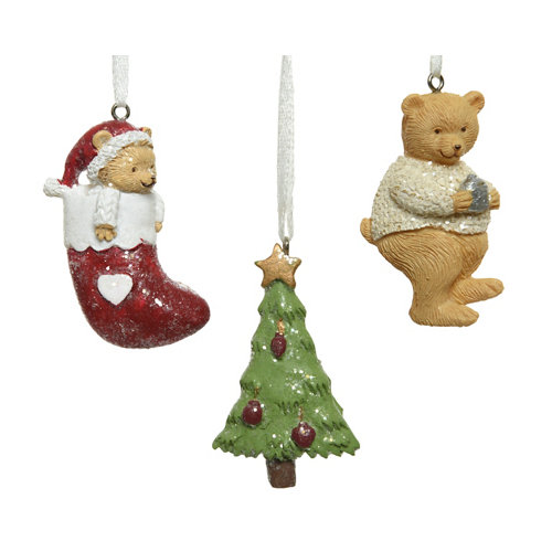 Set de 3 colgantes oso-calcetín-árbol 6,5 cm