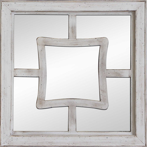 Espejo enmarcado cuadrada mosaico pune beige 50 x 50 cm
