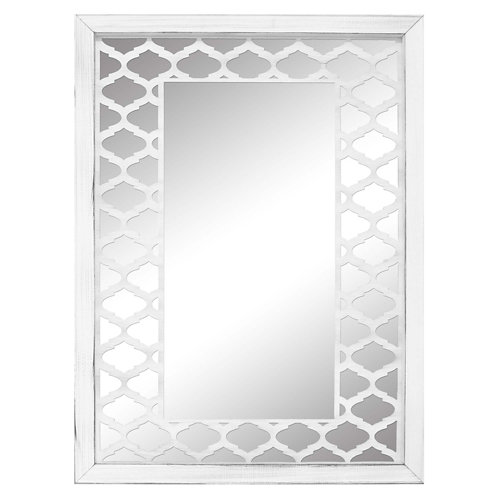 Espejo enmarcado rectangular mosaico jaipur blanco y plata 160 x 70 cm