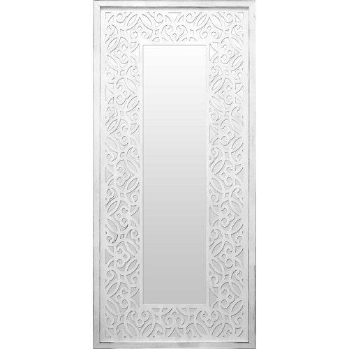 Espejo enmarcado rectangular mosaico surat blanco y plata 120 x 60 cm