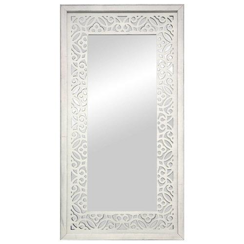 Espejo enmarcado rectangular mosaico surat blanco y plata 160 x 70 cm