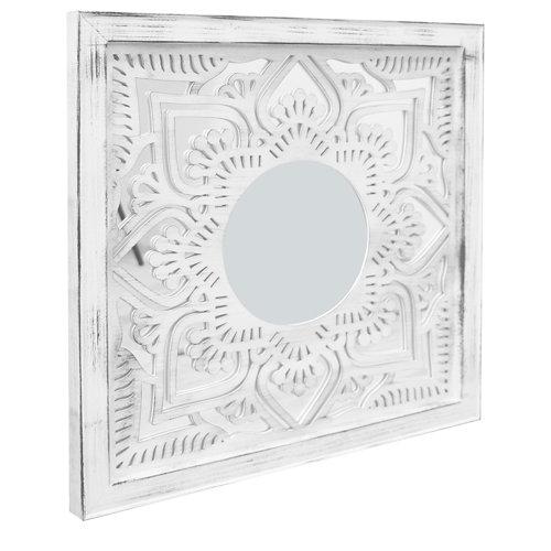 Espejo enmarcado cuadrada bombay bl/pl blanco y plata 70 x 70 cm