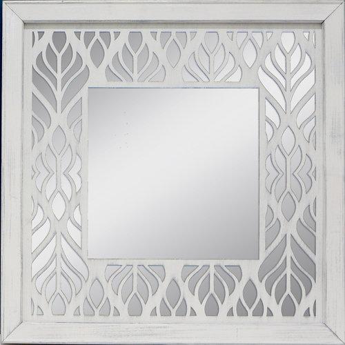 Espejo enmarcado cuadrada mosaico shiva blanco y plata 70 x 70 cm