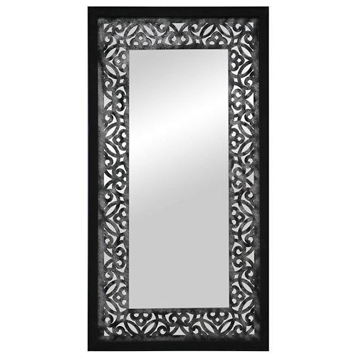 Espejo enmarcado rectangular mosaico surat negro 160 x 70 cm