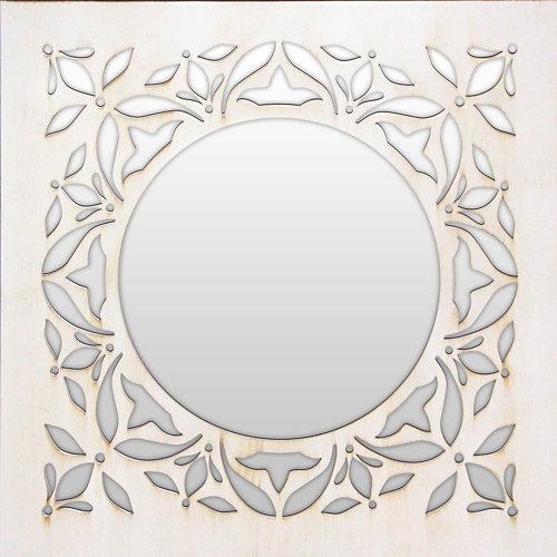 Espejo cuadrada mosaico vishnu blanco 70 x 70 cm