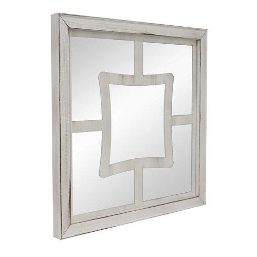 Espejo enmarcado cuadrada mosaico pune beige 70 x 70 cm