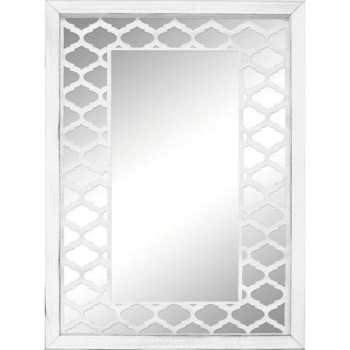 Espejo enmarcado rectangular mosaico jaipur blanco y plata 90 x 70 cm