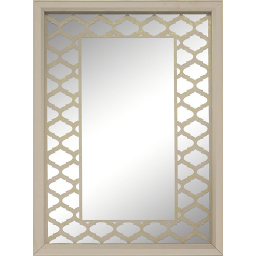 Espejo enmarcado rectangular mosaico jaipur blanco / oro 90 x 70 cm