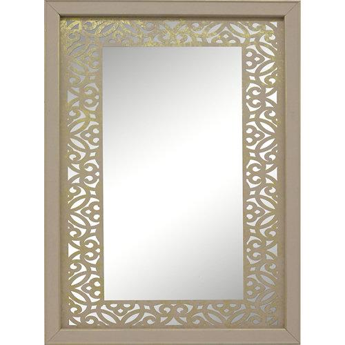 Espejo enmarcado rectangular mosaico surat blanco / oro 90 x 70 cm
