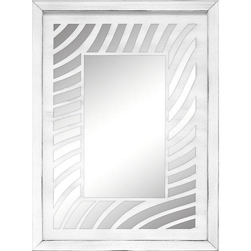 Espejo enmarcado rectangular mosaico agni blanco y plata 90 x 70 cm