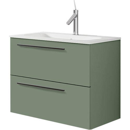 Conjunto mueble baño mia verde mate 59,5x55x45 cm y lavabo mia 61x18 cm
