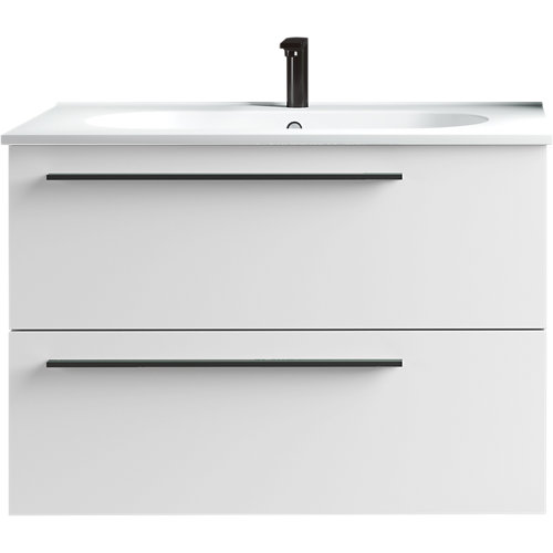 Conjunto mueble baño mia blanco mate 79,5x55x45 cm y lavabo mia 81x18 cm