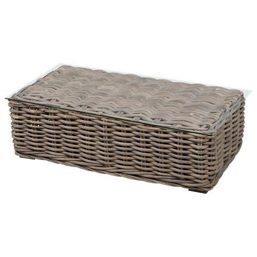 Mesa de jardín baja de ayamonte marrón de 72x46x142.5 cm