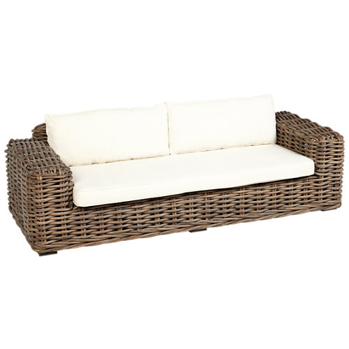 Banco/sofá de exterior de ratán natural ayamonte marrón