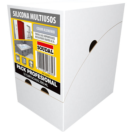 Caja de 12 siliconas multiuso neutra soudal 290 ml aluminio