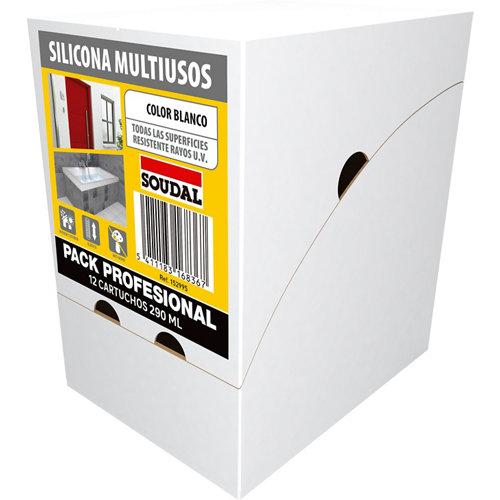Caja de 12 siliconas multiuso neutra soudal 290 ml blanco
