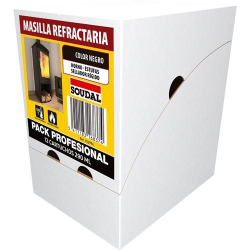 Caja de 12 masillas refractaria soudal 290 ml negro
