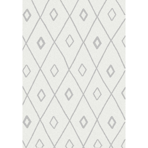 Alfombra blizz rhombus blanco 60x110 cm