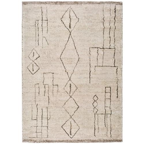 Alfombra de interior blanca poliéster etnica 160 x 230cm