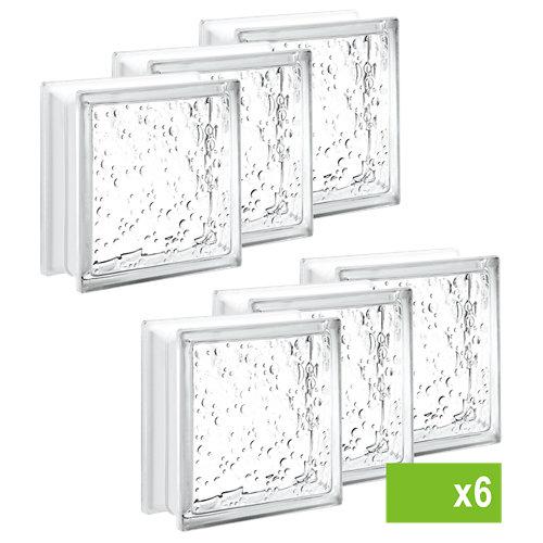 Lote de 6 bloque de vidrio con burbujas neutro 19x19x8 cm
