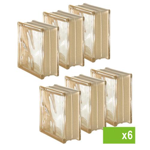 Lote de 6 bloque de vidrio reflejos ondulado oro 19x19x8 cm