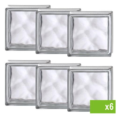 Lote de 6 bloque de vidrio ondulado neutro basic 19x19x8 cm