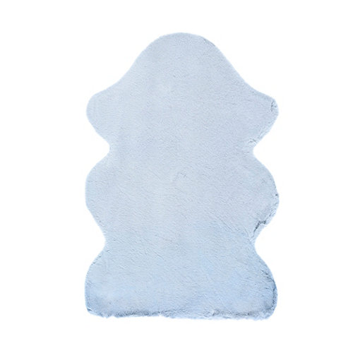 Alfombra pie de cama azul poliéster fox liso 60 x 90cm