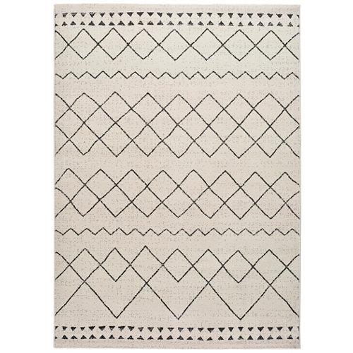 Alfombra pie de cama blanca polipropileno bereber himba 60 x 120cm