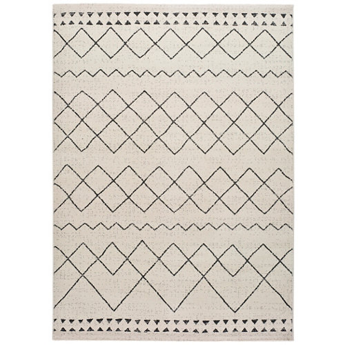 Alfombra pie de cama blanca polipropileno bereber himba 80 x 150cm