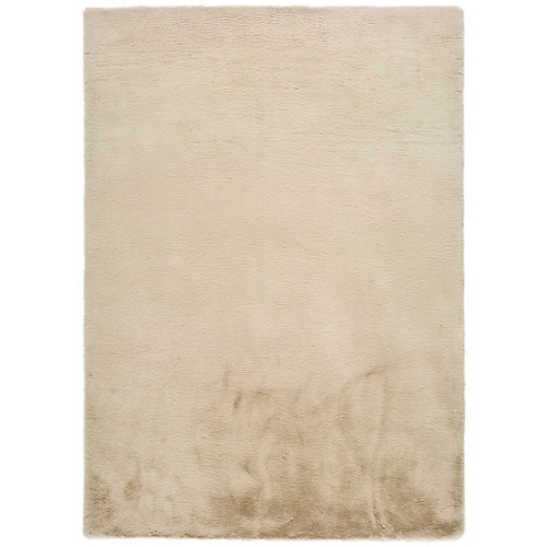 Alfombra pie de cama beige poliéster fox liso 80 x 150cm