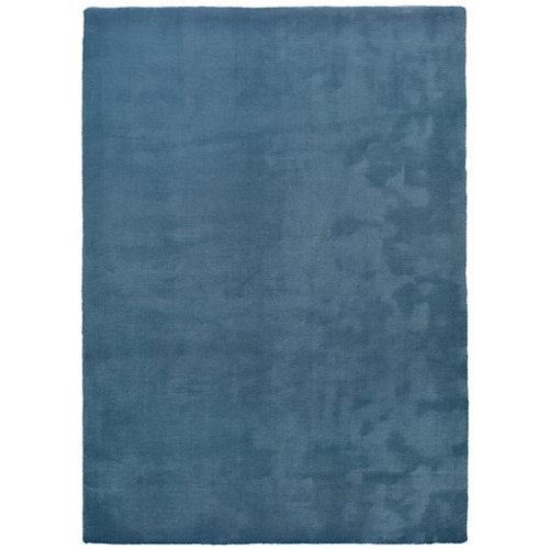Alfombra pie de cama azul poliéster berna liso 60 x 110cm