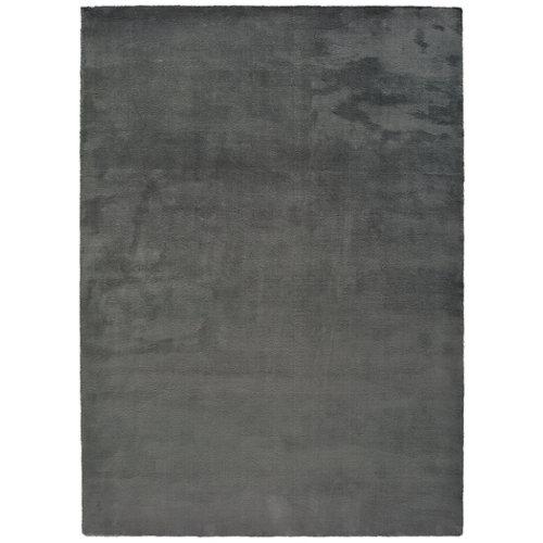 Alfombra pie de cama gris poliéster berna liso 60 x 110cm