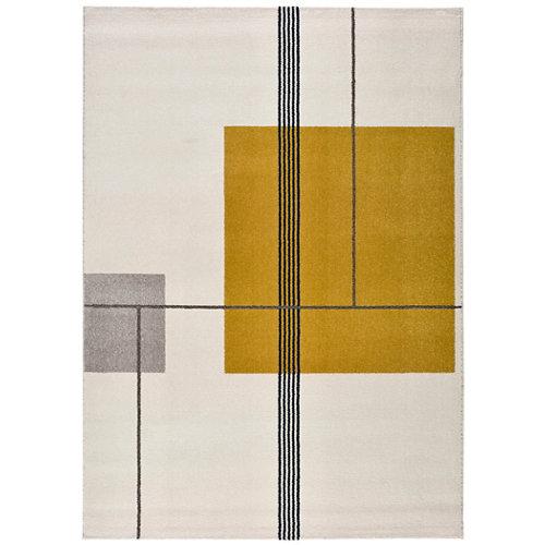 Alfombra pie de cama amarilla polipropileno emberá 60 x 110cm