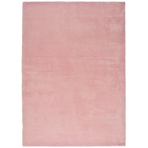 Alfombra pie de cama rosa poliéster berna liso 80 x 150cm