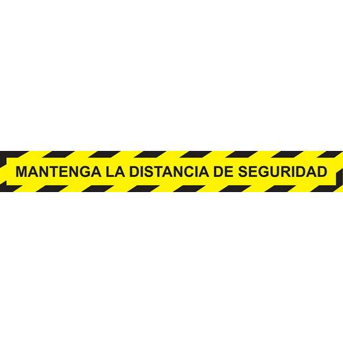 Cinta adhesiva mantenga distancia seguridad amarillo/negra