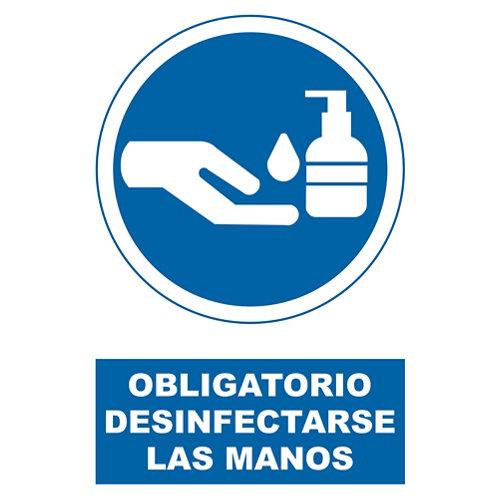 Señal obligatorio desinfectar manos 34x23cm