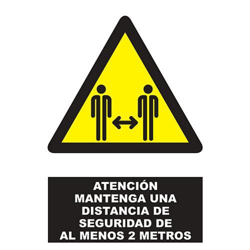 Señal advertencia distancia seguridad 34x23cm
