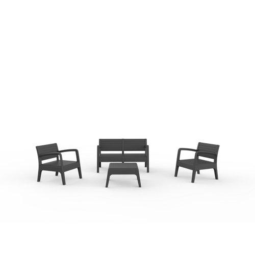 Conjunto de jardín miami gris antracita de 4 plazas