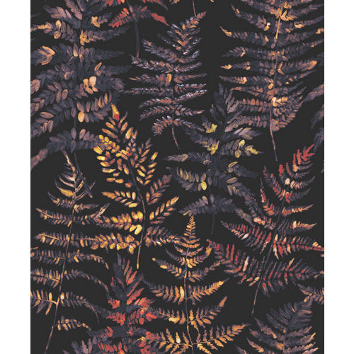 Papel pintado vinílico sin pvc eco helecho negro